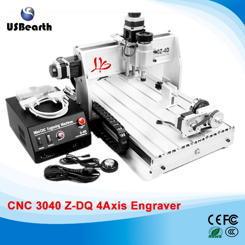3040Z-DQ 4axis CNC carving machine with 4th rotation axis and auto-checking instrument for 3d cnc free tax to EU russia tax free cnc woodworking carving machine 4 axis cnc router 3040 z s with limit switch 1500w spindle for aluminum