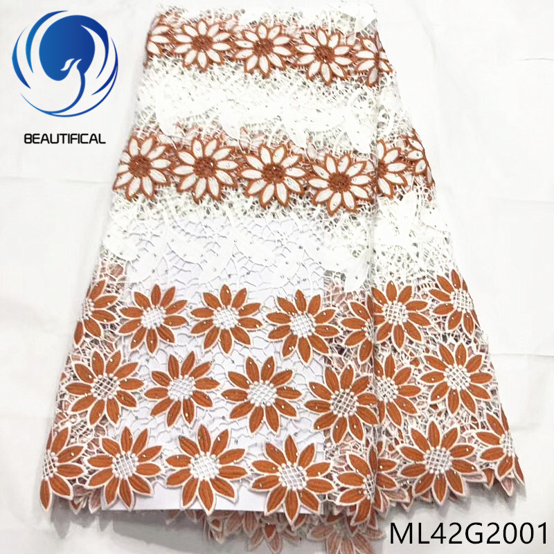 BEAUTIFICAL african lace fabrics Latest style 5yards water soluble lace fabric with stones embroidery flower lace fabric ML42G20