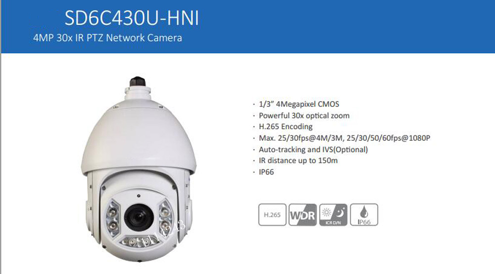 DAHUA IP Camera Outdoor Camera 4MP Full HD 30X IR PTZ Network Camera IP66 Security Camera without Logo SD6C430U-HNI dahua 4mp ptz full hd 30x network ir ptz