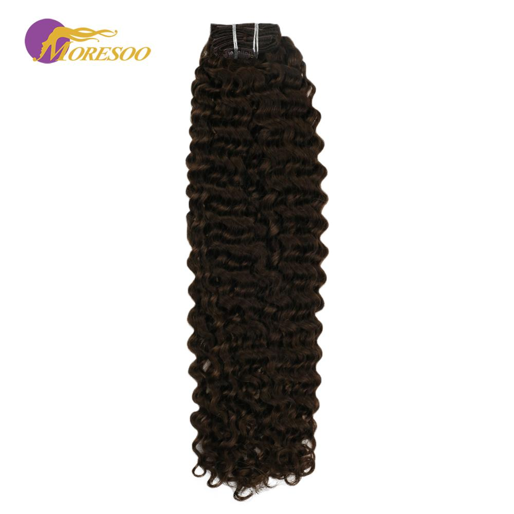 Moresoo Natural Wave Clip In Remy Human Hair Brown Color #4 Thick Full Head Clip In Hair Extensions 7Pcs/Set 100g