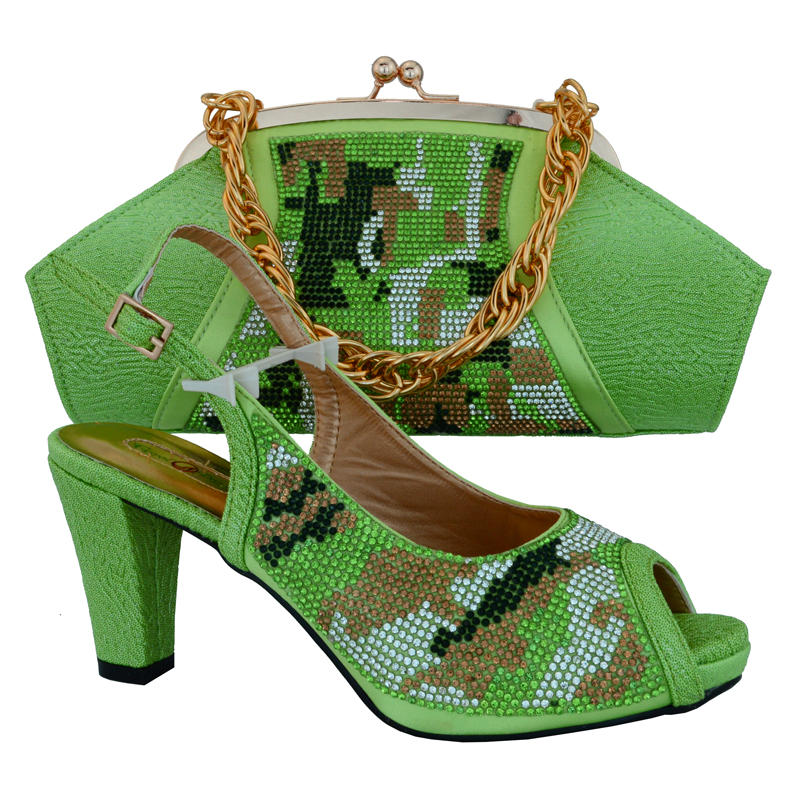 ФОТО Lemon green color recent European-style high-heeled shoes matching African and sale of luxury women's shoes and bag MM1013