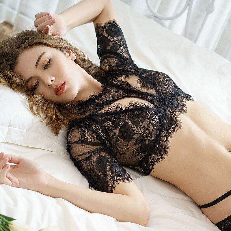 8cac97bea 2019 New Black White Lash Lace Underwear Suit Sexy Extreme Seduction ...