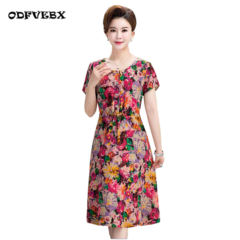 US $18.99 47% OFF|2019 summer women\'s cotton dress 40 50 years old fashion  short sleeved plus size medium long flower dresses female ODFVEBX HY364-in  ...
