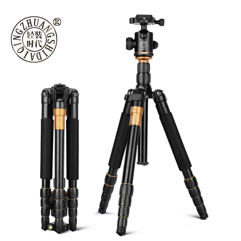 Q666 Professional Magnesium Aluminium Monopod Traveling DSLR Camera Tripod Light Compact Portable Stand Camera Aceessories aluminium alloy professional camera tripod flexible dslr video monopod for photography with head suitable for 65mm bowl size