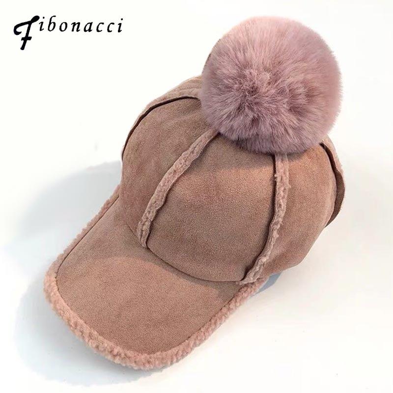 6354db7536d Fibonacci 2018 New Winter Hair Ball Baseball Cap Warm Lamb Cashmere Hat for  Women Fashion Autumn