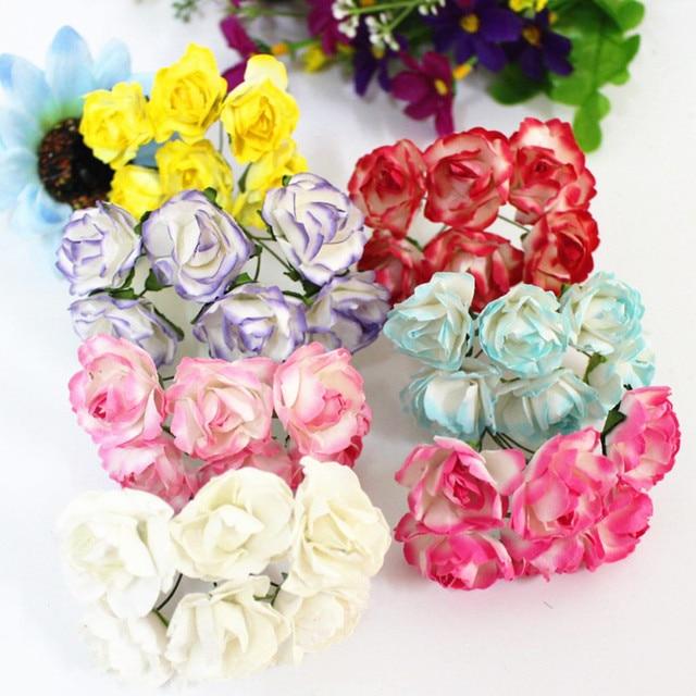 WedFavor 144pcs 2.5cm Artificial Small Paper Rose Flower Bouquets ...