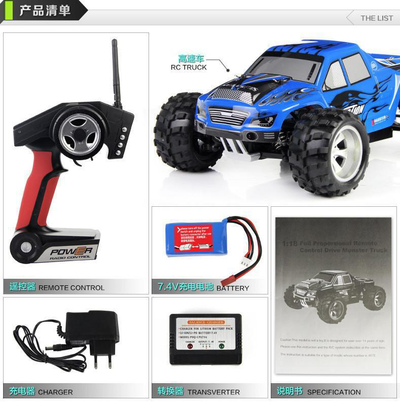 2014 New  A979 RC Car 1:18 2.4Gh Remote Control Toys RC Monster 4WD Remote Control Cars electric outdoor fun