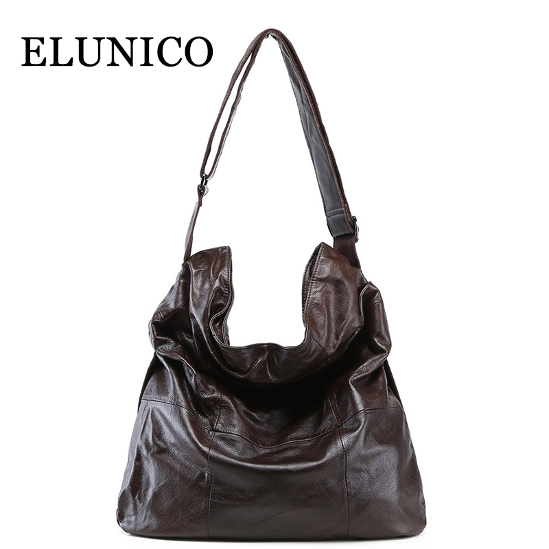 цена ELUNICO Europe and American Style Large Capacity Genuine Leather Shopping Tote Bag Ladies Handbag Women Messenger Shoulder Bags