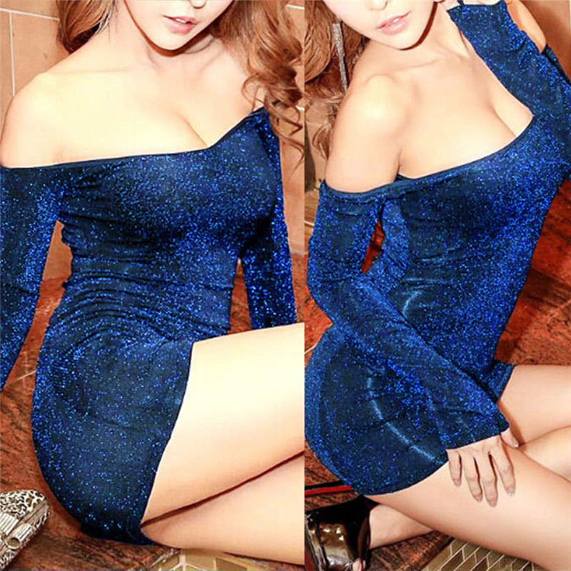 New Sexy Sheer & Opaque Rhinestone Silky Offer the Shoulder Long Sleeve Bodycon Mini Dress Night Club Bodysuit Clubwear