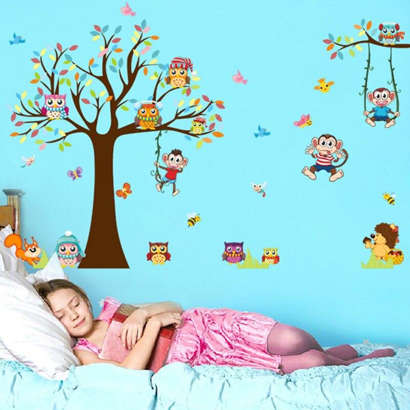 DIY Ağacları Meymun Bayquş Şirin Heyvan Divar Stikeri Uşaqlar - Ev dekoru - Fotoqrafiya 2
