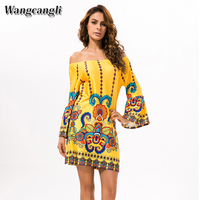 Hot Sale Europe And America Vintage Dress Women Casual Long Sleeve Dress Thai Wind Beach Printing