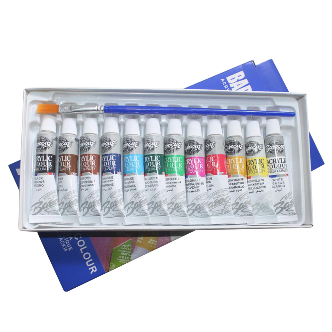 6 ML 12 Colors Professional Acrylic Paints Set Hand Painted Wall Painting Textile Paint Brightly Colored Art Supplies Brush 6 ml 12 colors professional acrylic paints set hand painted wall painting textile paint brightly colored art supplies free brush