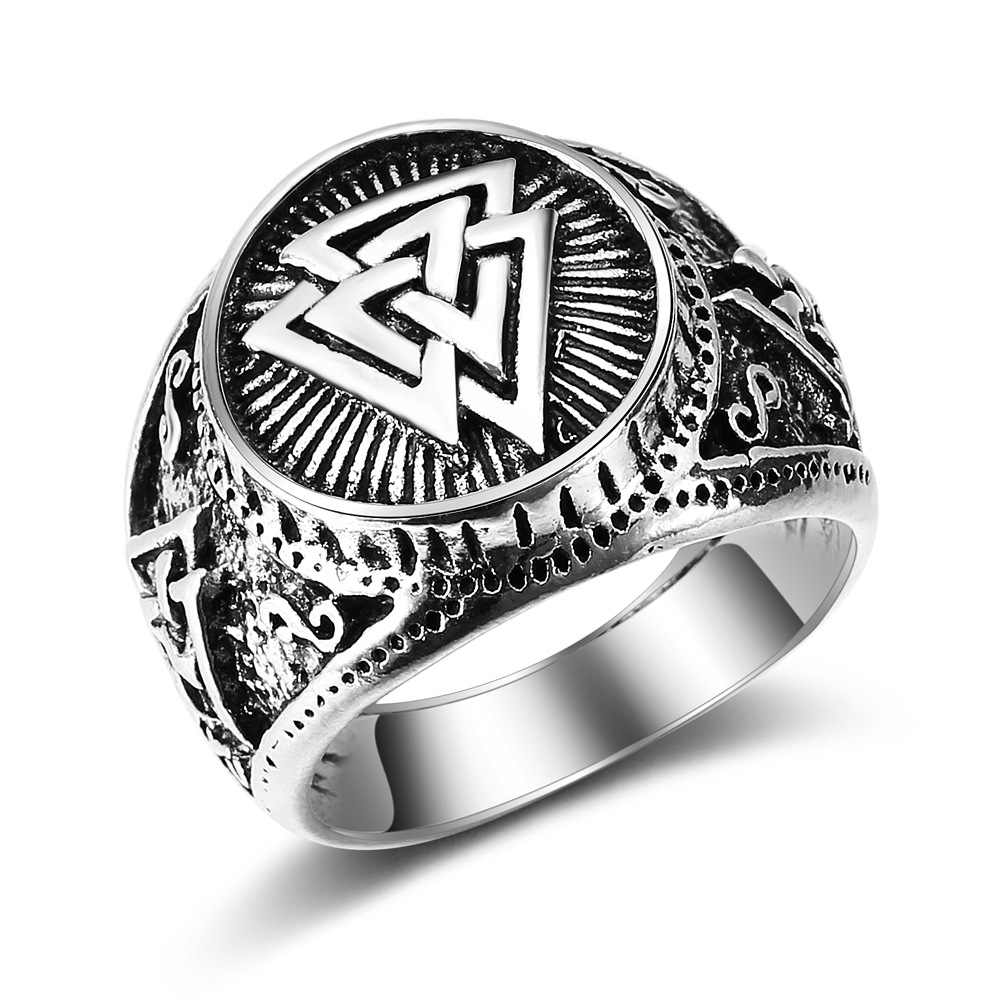 New Fashion Vintage Men's Ring Viking Odin Logo Triangle Rings Jewelry Wedding Party Gifts Drop Shipping