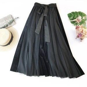 Image 4 - Hiver Vintage velours Patchwork jupe longue femmes taille haute lacets Tutu jupes Femininas Saias Krean Style vêtements
