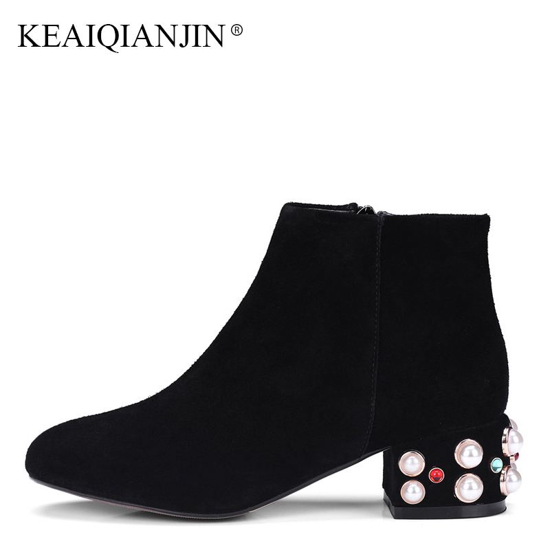 KEAIQIANJIN Woman Pink String Bead Pointed Toe Ankle Boots Autumn Winter Fashion Sexy Black Genuine Leather Martin Ankle Boots keaiqianjin woman pointed toe ankle boots black autumn winter genuine leather shoes fashion metal decoration chelsea boots 2017