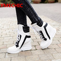 YMECHIC Fashion 2017 Lace Up Wedges Platform Casual Shoes Woman Patchwork Womens Winter Spring Black White Red Ankle Women Boots
