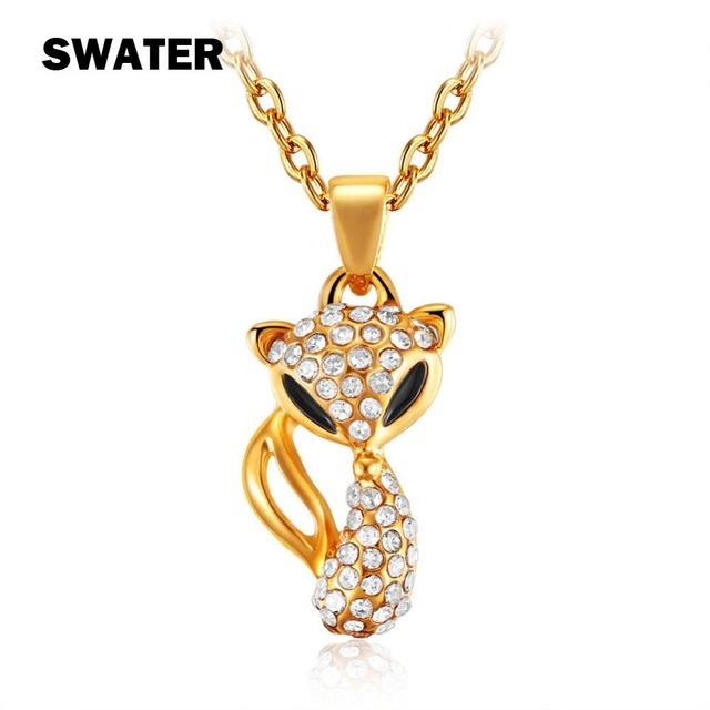 Swater fashion animal old fox gold color women necklaces swater fashion animal old fox gold color women necklaces pendants black eyes classic charm crystal mozeypictures Gallery