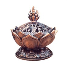 Holy Tibetan Lotus Designed Incense Burner Zinc Alloy Bronze Mini Incensory Metal Craft Home Decor