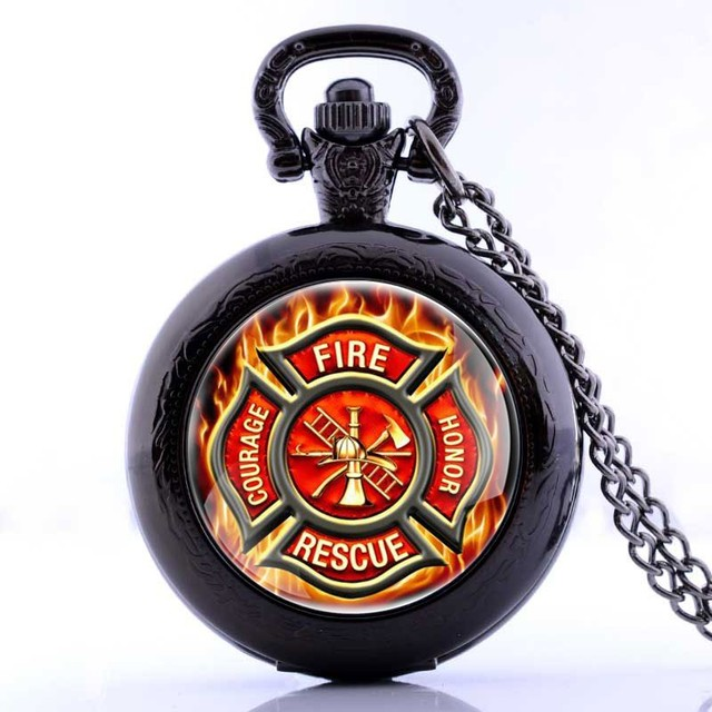 New Fire Fighter Control Locket Necklace Pocket Watch Vintage Pendant Gift