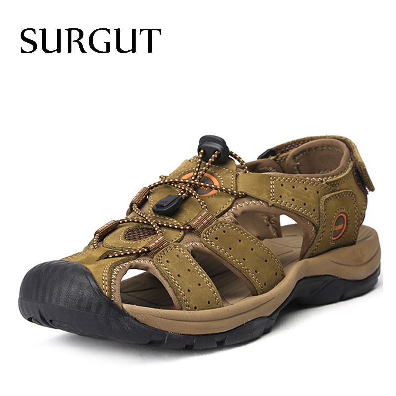 SURGUT Brand Genuine Leather Shoes Summer New Large Size Men's Sandals Men Sandals Fashion Sandals And Slippers Big Size 38-47 mmnun 2017 boys sandals genuine leather children sandals closed toe sandals for little and big sport kids summer shoes size26 31