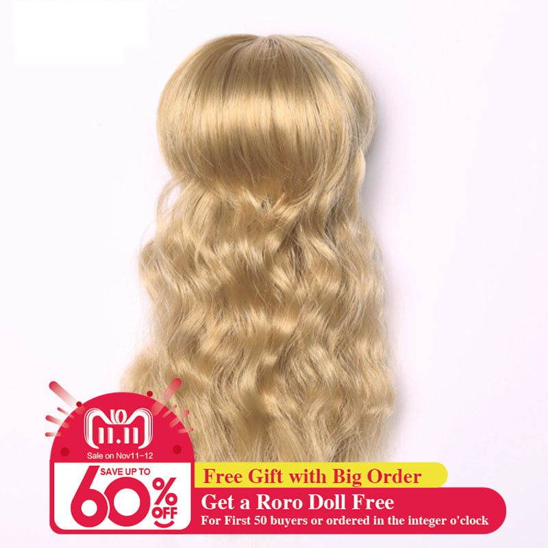 Free Shipping BJD Wig Curly Bangs Heat Resistant Synthetic KinkyFlat Bangs Bob Dark Brown Girl Hair Party For 1/8 Lati Oueneifs stylish short capless side bang synthetic fluffy brown highlight curly bump wig for women
