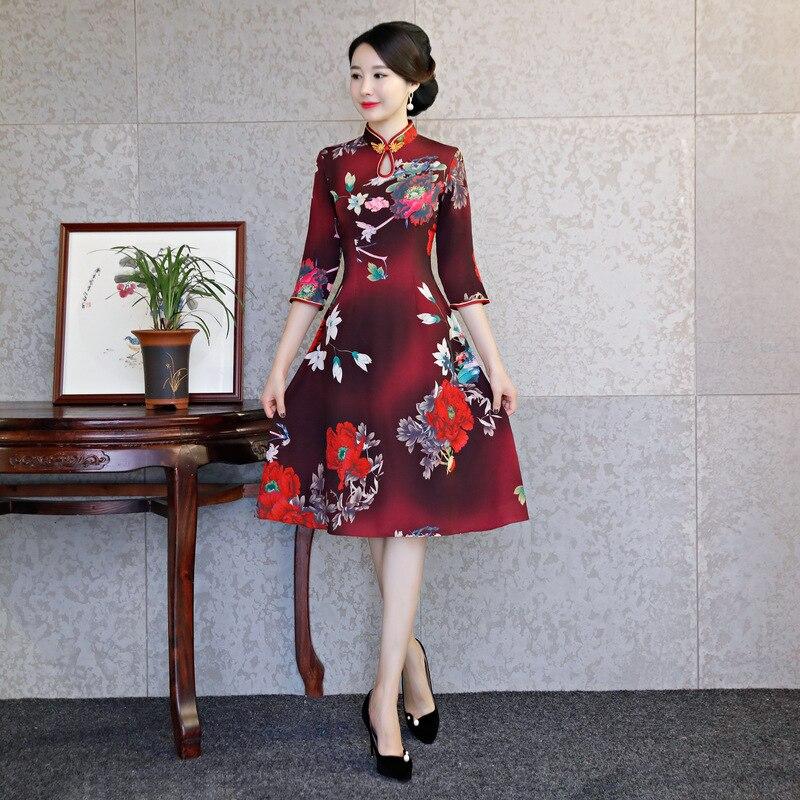 Mince 1 style Longueur 2 Robe 2018 Femmes 3 style Genou Vintage Sexy Mode Bouton Style Cheongsam De D'été Qipao Partie Chinois style 4 Robes 5j34ALqR