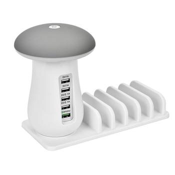 CSS Mushroom LED Night Light 5-Port USB EU Plug Quick Charging Station Universal Desktop Tablet and Smartphone Charger instacover