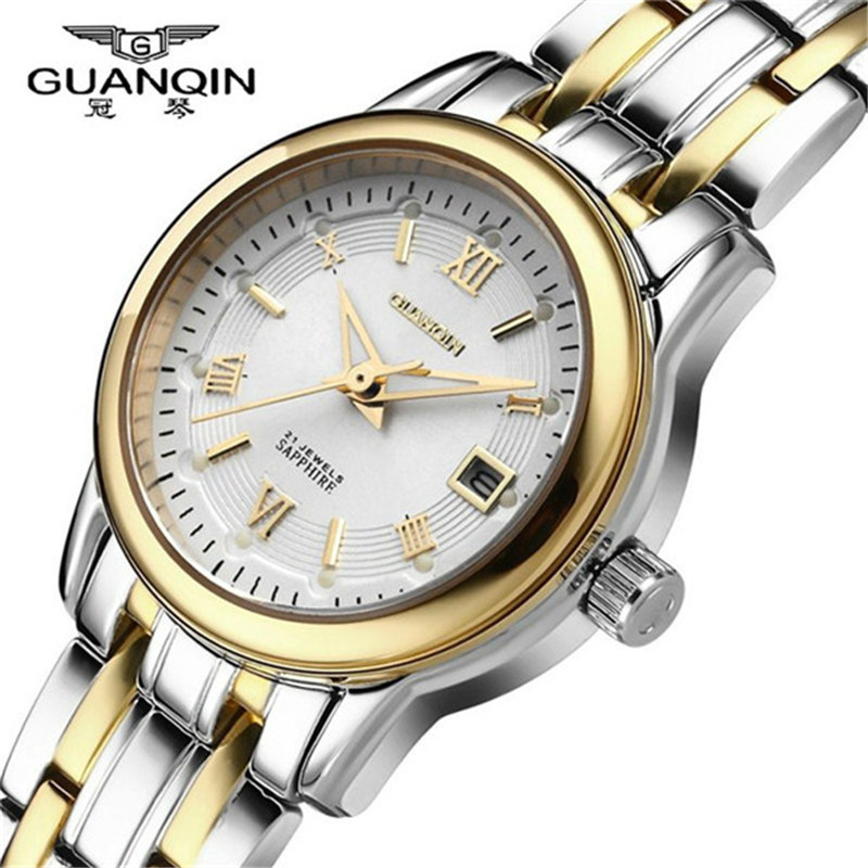 ФОТО GUANQIN Fashion Quartz Watch Relogio Feminino Watches Women Dress Luxury Brand Waterproof Gold Bracelet Wristwatch montre femme