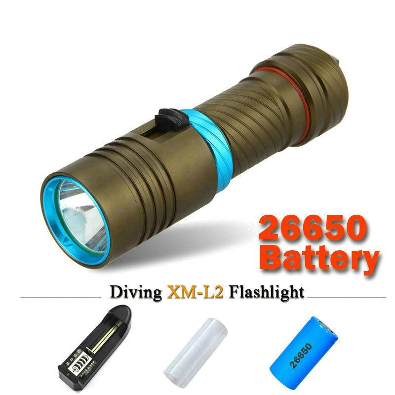 xm-l2 100M Diver Flashlight LED cree L2 Torch constant current 5000lm 18650 OR 26650 Underwater Diving Light Lamp rechargeable 100m cree xm l2 scuba flashlights led xml diving flashlight underwater torch light diver 18650 or 26650 rechargeable batteries