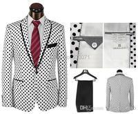 خياط الرجال حفل زفاف 2016 الجديدة الدعاوى الأبيض البولكا نقطة سوداء العريس البدلات الرسمية أفضل رجل وصيف سترة + بنطلون + ربطة