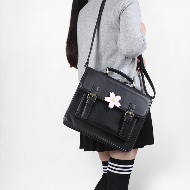 Japoneză Uniform Preppy stil de mână Femei școală de școală PU Fashion Vintage Bag mâner cu Sakura catarama Geantă de umăr pentru fete