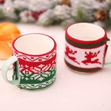 New year kerst DIY Party Christmas decoration cristmas Woolen Cup Set Xmas Knitting Glass Ceramic Mug navidad AB311
