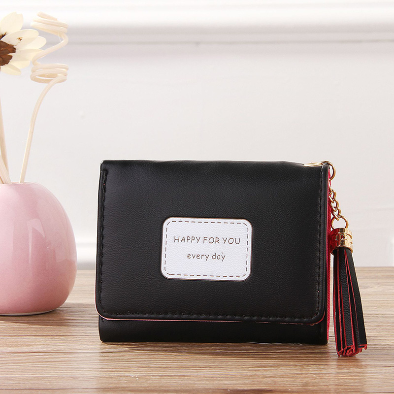 Women 39 s tassel pendant three fold wallet purse short wallet wallet wallet card package synthetic leather 20 in Wallets from Luggage amp Bags