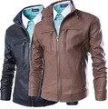 2016 новый мужской меховой воротник развивать нравственность моды кожаная куртка вода для мытья кожа PU