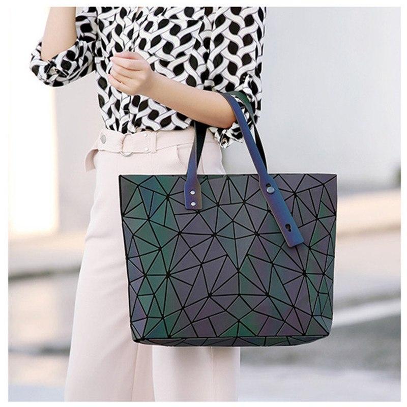 Image 5 - Women's large capacity holographic laser handbag irregular geometric luminous girl shoulder bag laptop office big bag-in Top-Handle Bags from Luggage & Bags