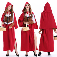high quality plus size little red riding hood halloween costume for women adults Small Red Cap cosplay fancy dress for cape girl