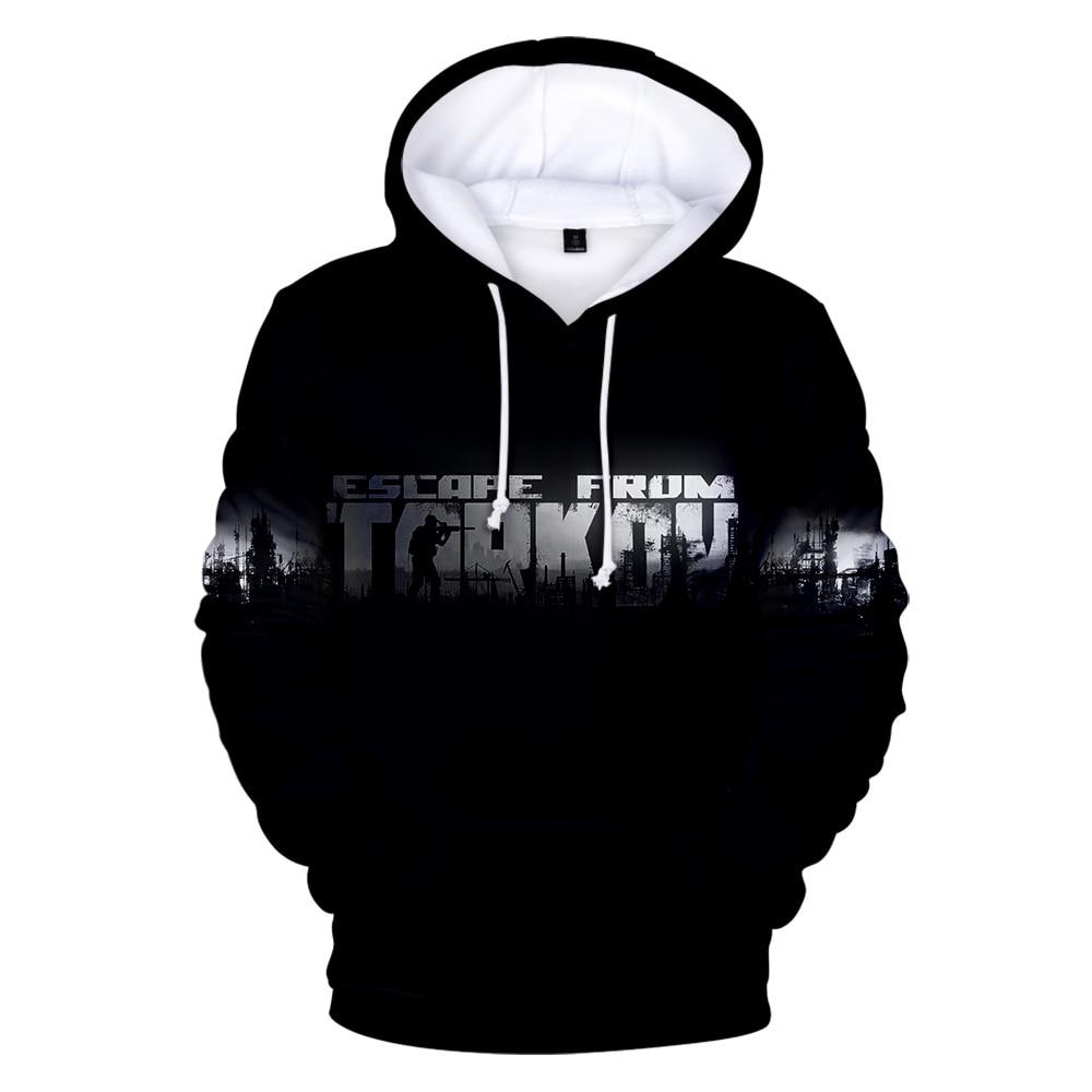 3D Escape from Tarkov Hoodie New Game Harajuku Loose Sweatshirt Escape from Tarkov Print Men/Women Hoodies Black Warm clothes(China)