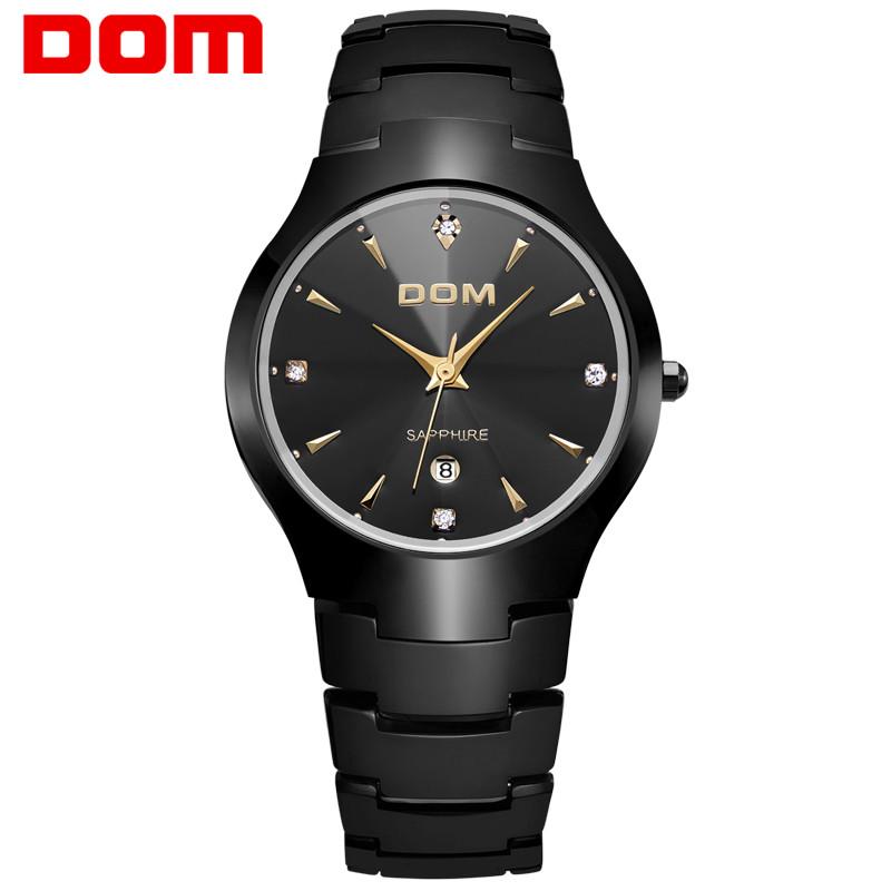 Prix pour Dom de luxe sapphire crystal top marque hommes de montre bracelet en acier de tungstène 30 m étanche d'affaires quartz montres mode 698 w