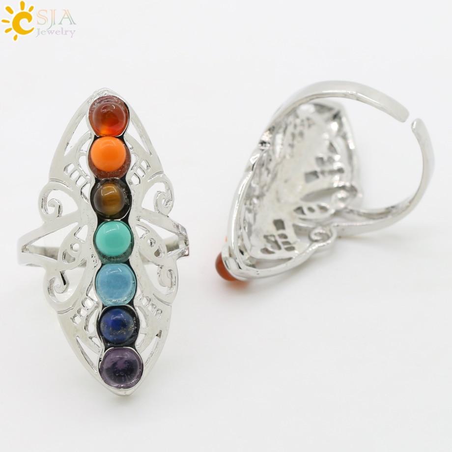 CSJA 7 Chakra Batu Manik Jari Cincin Reiki Balance Meditasi - Perhiasan fashion - Foto 2