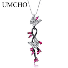 UMCHO 925 Sterling Silver Butterfly Natural Gemstone Black Spinel Ruby Romantic Wisiorki Naszyjniki Dla kobiet Fine Jewelry