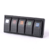 IZTOSS 5 LED color Bar Rocker Switch panel ARB Carling Style Type 3 PINS DC 12V 24V with clip holder