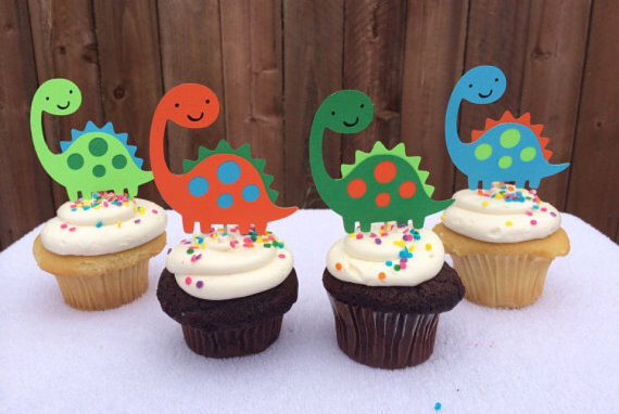 cute Dinosaur Cupcake Toppers wedding Boys Birthdays baby shower Party treat food picks free shipping photo booth props