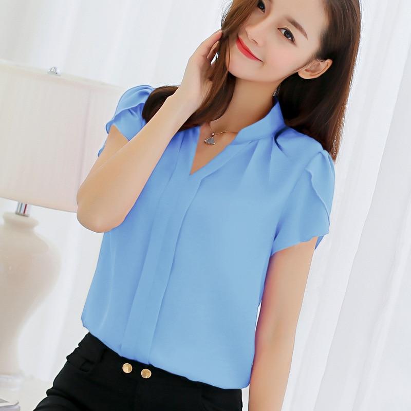 Blouse Women 2019 Office Ladies Chiffon White Shirt Short Sleeve elegant Tops Casual Overalls Plus Size Female Clothing(China)