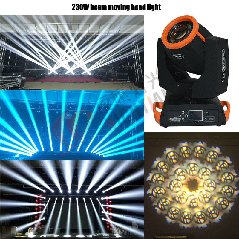 DMX 7R Sharpy 230W Moving Head Beam Light With 6 Glass Gobos Touch Screen 16+8 Prism For Stage DJ Lighting Party