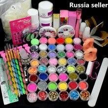 Russia Seller Acrylic Liquid False Nail Art Brush Glue Powder Buffer Block Deco Tips Tool Kit