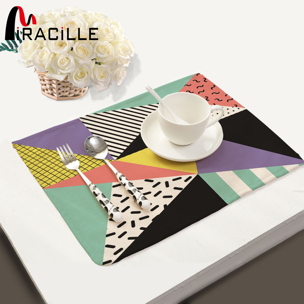 Miracille Geometry Pattern Coffee Table Mat Colorful Printing Cloth Napkin Linen Cotton
