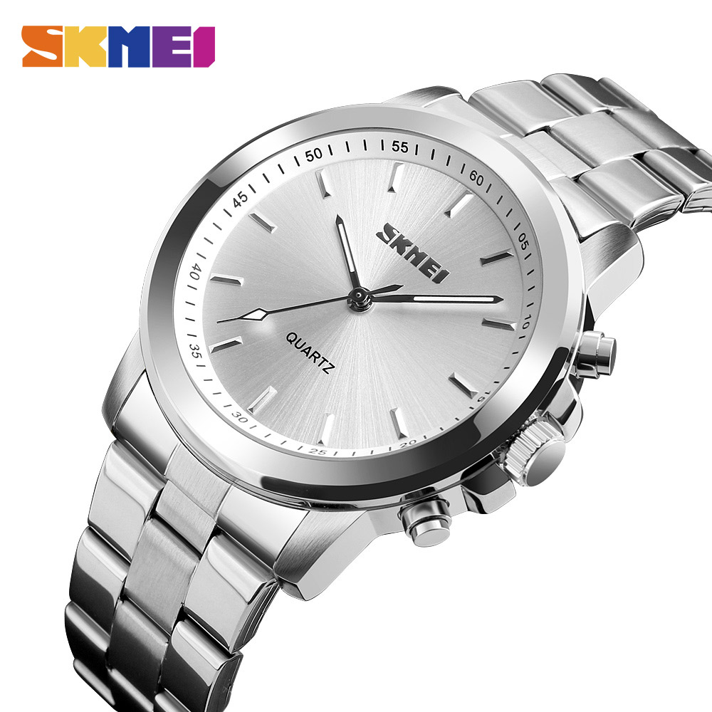 SKMEI Fashion Casual Quartz Watch Men Classic business Luxury Wrist Stainless Steel Relogio Masculino Watch Mens Watches 1324 pu leather strap wrist watches for men luxury stainless steel dial quartz watch mens sports business watch relogio masculino lh