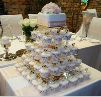 Perfect Free Shipping!Cheapest !Square Clear 5 Tier Acrylic Wedding Cake Cupcake Display Stand For Wedding Party