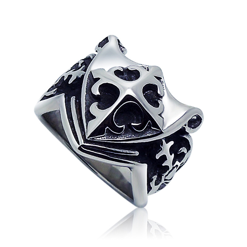 1pcs Europe fashion Polishing Cross pattern Scout flower Shield ring - Fashion Jewelry