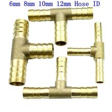 Mosiądz Barb do montażu węża 3 way złączka do węża węża złącze dla 6mm 8mm 10mm 12mm ID węża tanie tanio Równe 00300040001 Odlewania ROUND Brass